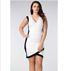 Dresses & Skirts - Plus Size Ivory & Black Textured Dress